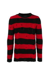 Мужской красно-черный свитер с круглым вырезом в горизонтальную полоску от Overcome