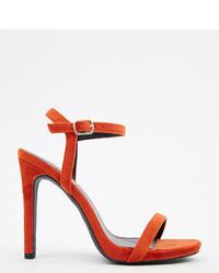Красные бархатные босоножки на каблуке