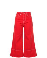 Красные джинсовые брюки-кюлоты