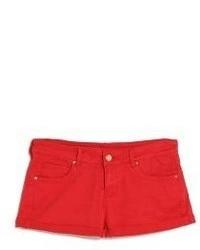 Красные джинсовые шорты
