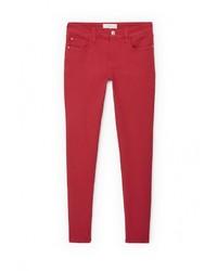 Женские красные джинсы скинни от Mango