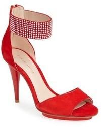 Красные замшевые босоножки на каблуке