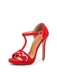 Женские красные замшевые босоножки на каблуке от Fersini