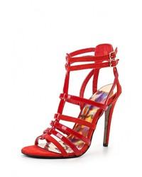 Женские красные замшевые босоножки на каблуке от Jessica Wright