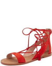 Красные замшевые сандалии на плоской подошве