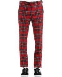 Красные классические брюки в шотландскую клетку