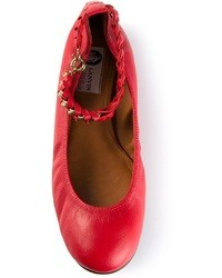 Красные кожаные балетки