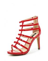 Красные кожаные босоножки на каблуке от Blink