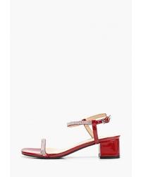 Красные кожаные босоножки на каблуке от Chezoliny