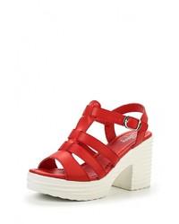 Женские красные кожаные босоножки на каблуке от Elche