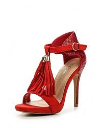 Женские красные кожаные босоножки на каблуке от Girlhood
