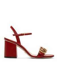 Красные кожаные босоножки на каблуке от Gucci