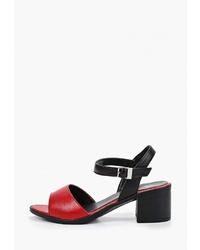Красные кожаные босоножки на каблуке от Happy Family