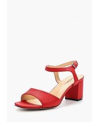 Красные кожаные босоножки на каблуке от Just Couture