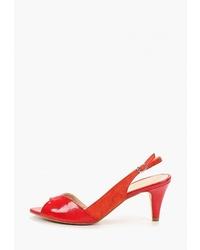 Красные кожаные босоножки на каблуке от mint&berry