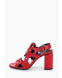 Красные кожаные босоножки на каблуке от OShade