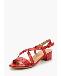 Красные кожаные босоножки на каблуке от Saivvila