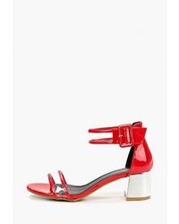 Красные кожаные босоножки на каблуке от Sergio Todzi