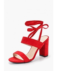 Красные кожаные босоножки на каблуке от Zona3