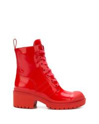 Женские красные кожаные ботинки на шнуровке от Marc Jacobs