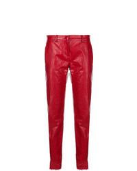 Красные кожаные брюки-галифе