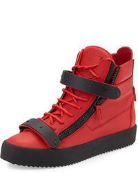 Красные кожаные высокие кеды