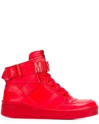 Женские красные кожаные высокие кеды от Moschino