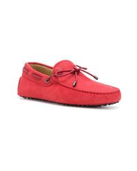 Мужские красные кожаные мокасины от Tod's