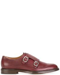 Красные кожаные монки с двумя ремешками от Gucci