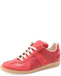 Красные кожаные низкие кеды