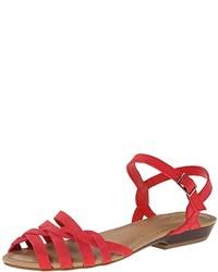 Красные кожаные сандалии на плоской подошве