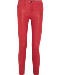 Красные кожаные узкие брюки