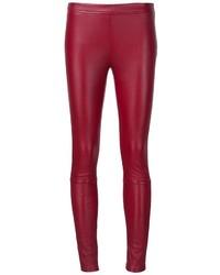 Женские красные кожаные узкие брюки от Roberto Cavalli
