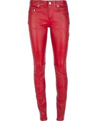 Женские красные кожаные узкие брюки от Saint Laurent
