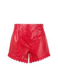 Красные кожаные шорты