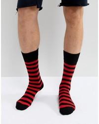 Мужские красные носки в горизонтальную полоску от Dr. Martens