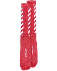 Женские красные носки в горизонтальную полоску от Off-White