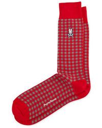 Красные носки в шотландскую клетку