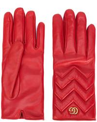Женские красные перчатки от Gucci