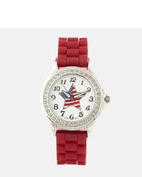 Красные резиновые часы