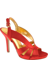 Красные сатиновые босоножки на каблуке