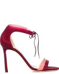 Женские красные сатиновые босоножки на каблуке от Jimmy Choo