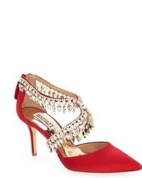 Красные сатиновые туфли с украшением