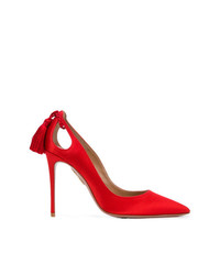 Красные сатиновые туфли от Aquazzura