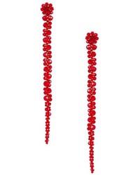 Красные серьги с цветочным принтом
