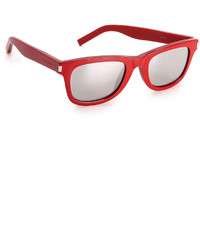 Женские красные солнцезащитные очки от Saint Laurent