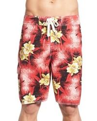 Красные шорты для плавания с принтом