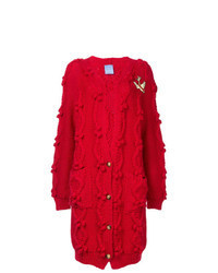 Красный вязаный длинный кардиган