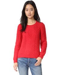 Женский красный вязаный свитер