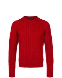 Мужской красный вязаный свитер от Prada